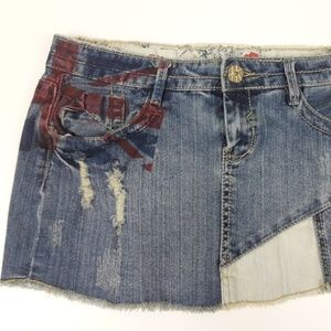 Hot Kiss Juniors Denim Patchwork Union Jack Skirt